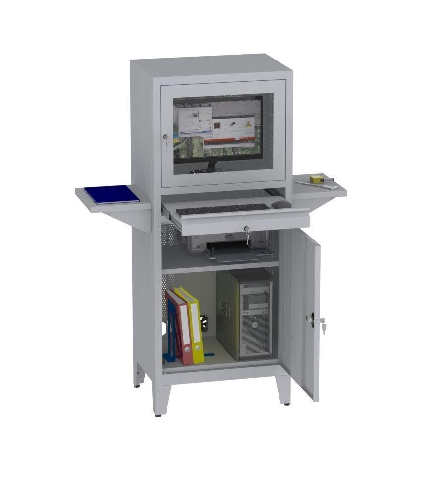 Swk02n schrank f r computer metallm bel heritus for Verstellbare schreibtische