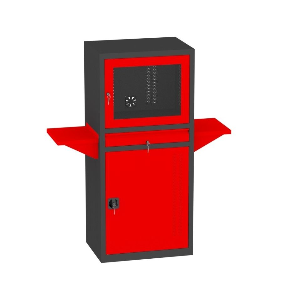 swk02c schrank f r computer metallm bel heritus. Black Bedroom Furniture Sets. Home Design Ideas